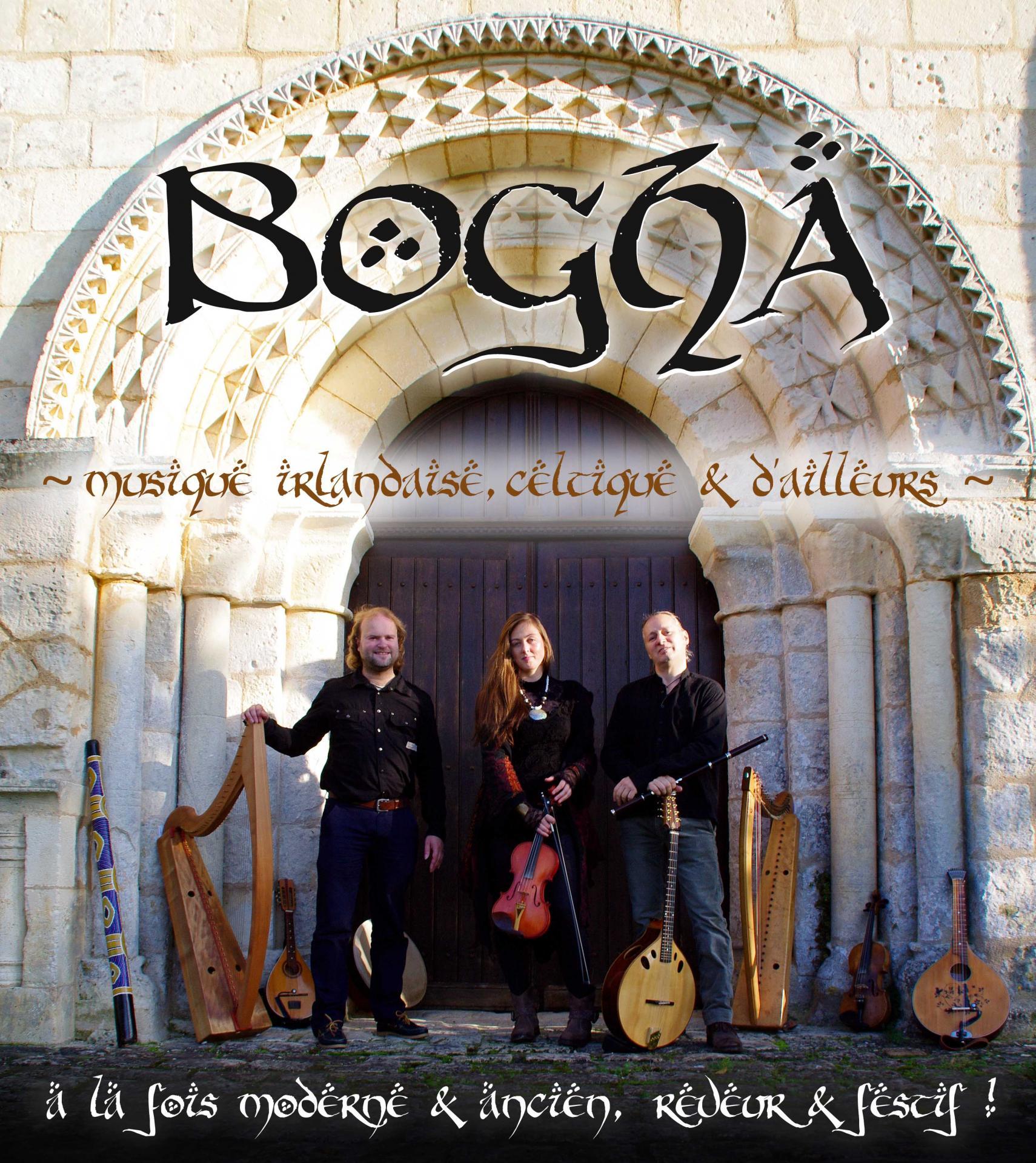 Bogha music irlandaise celtique text affiche en francais
